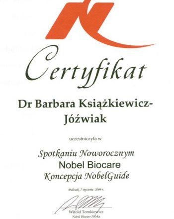 certyfikat uczestnictwa w spotkaniu nobel biocare