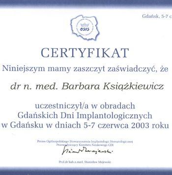certyfikat uczestnictwa w obradach dni implantologicznych