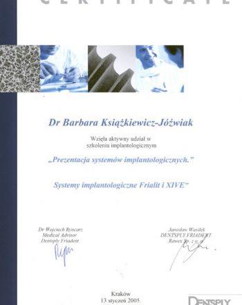 certyfikat uczestnictwa w szkoleniu implantologicznym