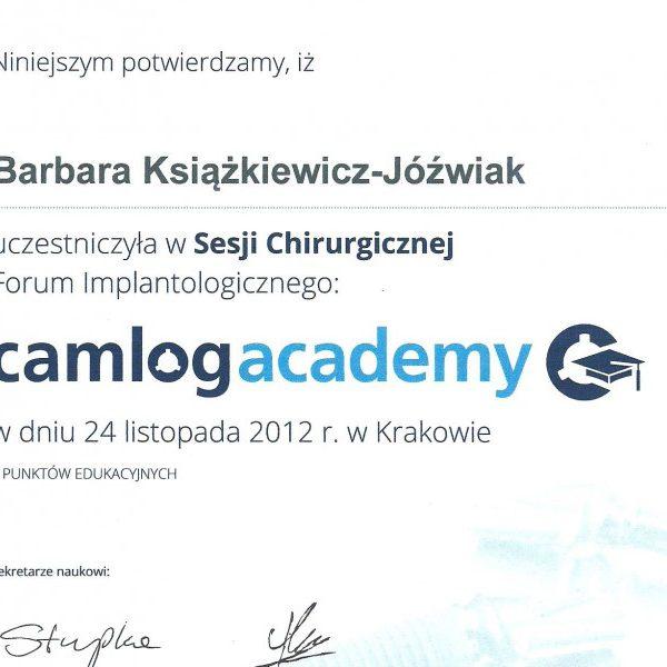 certyfikat uczestnictwa w sesji chirurgicznej