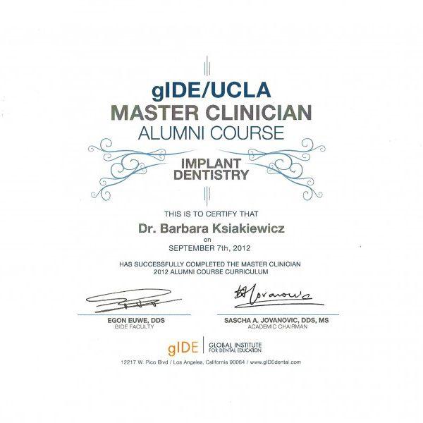 certyfikat uczestnictwa w kursie implantologicznym