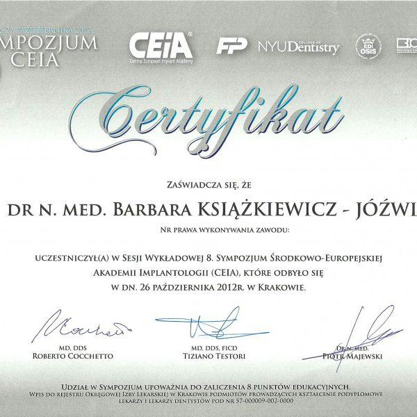 certyfikat uczestnictwa w sesji wykładowej i sympozjum