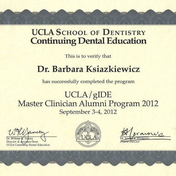 certyfikat uczestnictwa w programie UCLA/gIDE