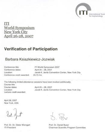 certyfikat uczestnictwa w sympozjum