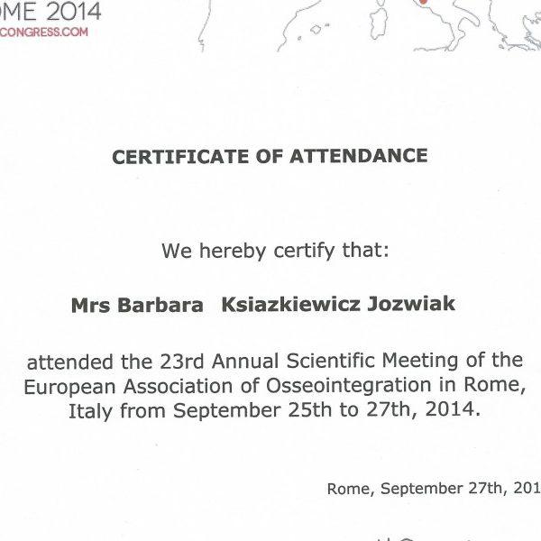certyfikat uczestnictwa w spotkaniu