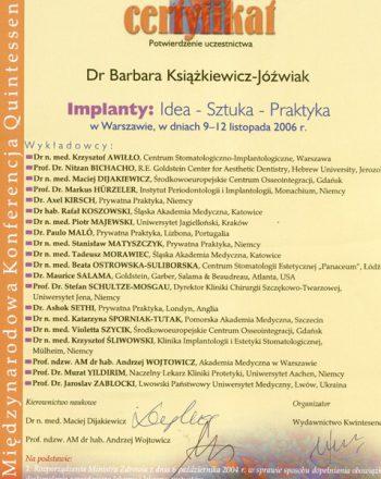 certyfikat uczestnicwa w konferencji na temat implantów