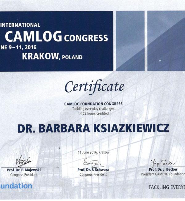 certyfikat camlog congress