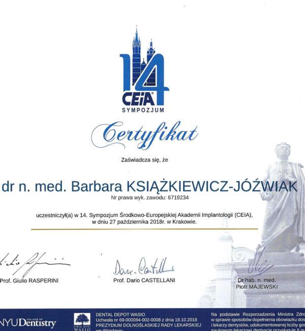 certyfikat dla uczestnika sympozjum