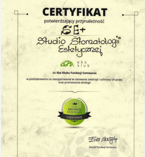 certyfikat przynaleźności do studia stomatologii estetycznej