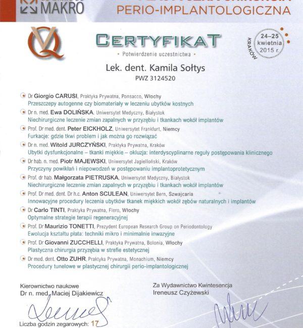 certyfikat z plastycznej chirurgii
