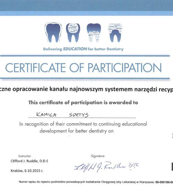 certyfikat uczestnictwa w endodontycznym opracowaniu kanału