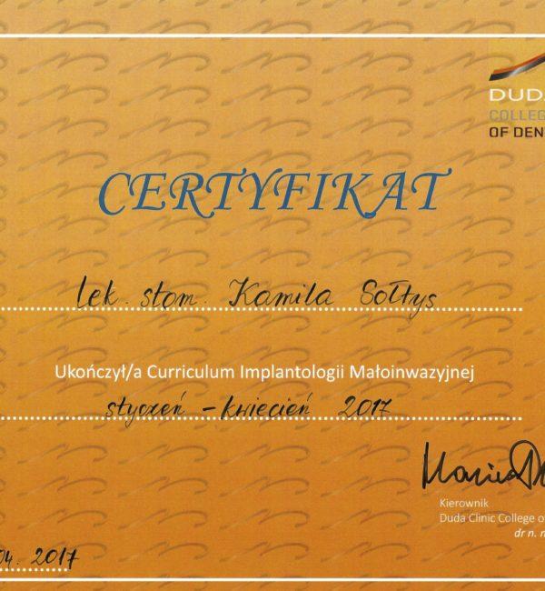 certyfikat ukończenia curriculum implantologii małoinwazyjnej