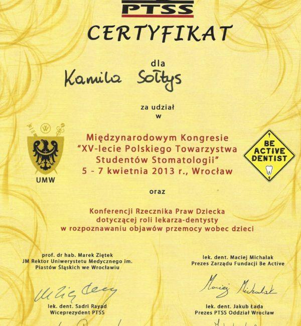 certyfikat uczestnictwa w kongresie