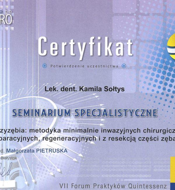 certyfikat uczestnictwa w seminarium specjalistycznym
