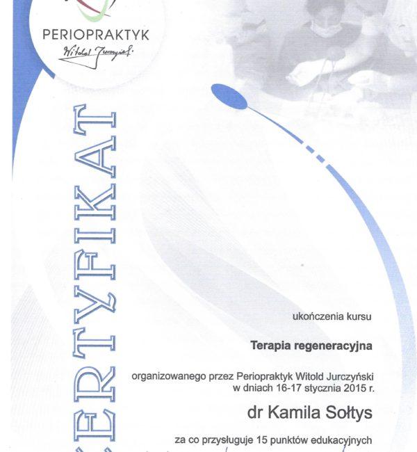 certyfikat terapia regeneracyjna