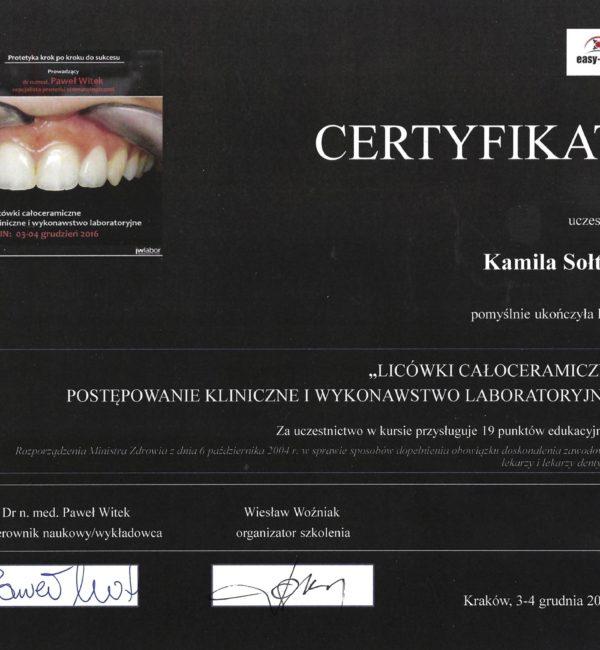 certyfikat z licówek całoceramicznych