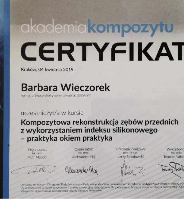 certyfikat akademii kompozytu