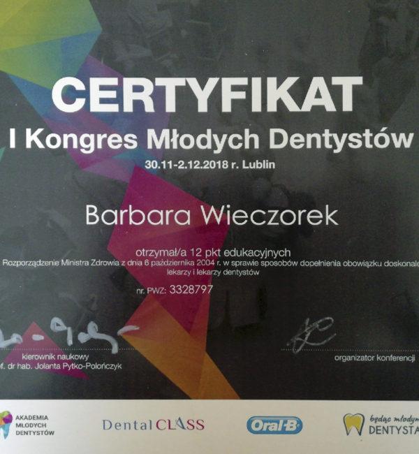 certyfikat pierwszego kongresu młodych dentystów