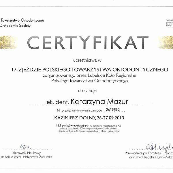 certyfikat uczestnictwa w zjeżdzie polskiego towarzystwa ortodontycznego