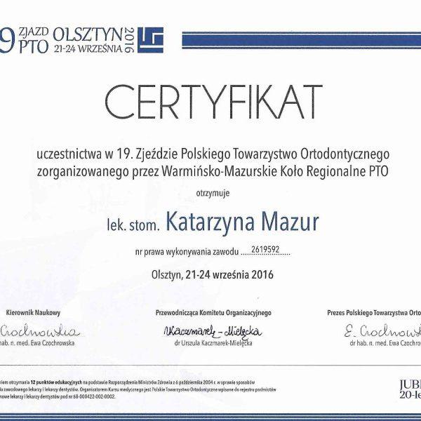certyfikat uczestnictwa w zjeździe polskiego towarzystwa ortodontyczneego