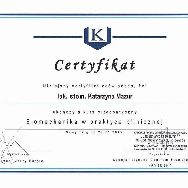 certyfikat ukończenia kursu ortodontycznego
