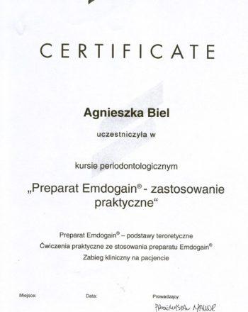 certyfikat ukończenia kursu periodontologicznego