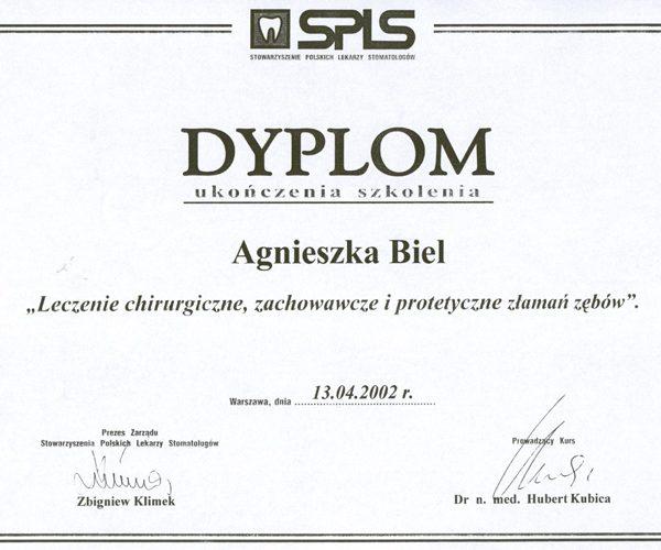 dyplom ukończenia szkolenia leczenie chirurgiczne, zachowawcze i protetyczne