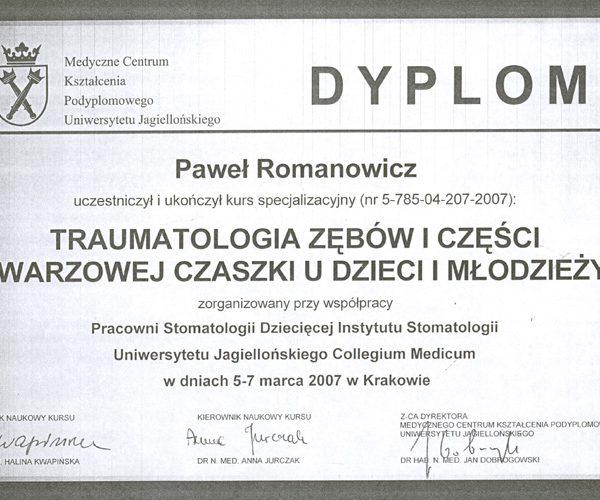 dyplom uczestnictwa w kursie