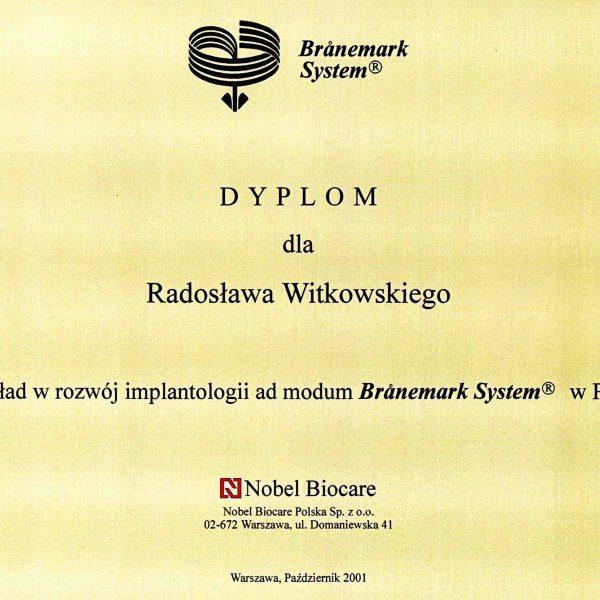 dyplom za wkład w rozwój implantologii