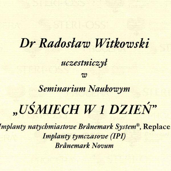certyfikat uczestnictwa w seminarium naukowym
