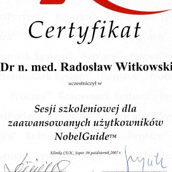 certyfikat uczestnictwa w sesji szkoleniowej