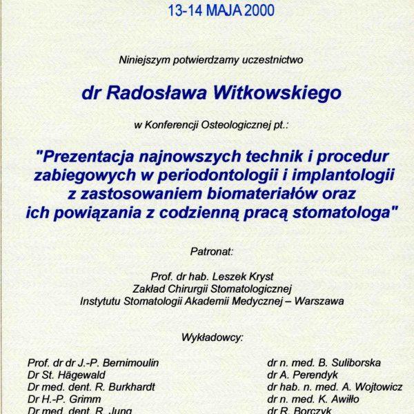 certyfikat uczestnictwa w konferencji osteologicznej