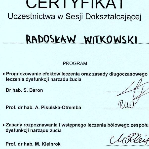 certyfikat uczestnictwa w sesji dokształcającej