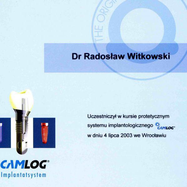 certyfikat uczestnictwa w kursie protetycznym